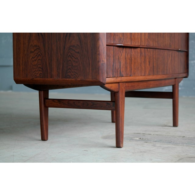 Vintage Danish Mid-Century Rosewood Five-Drawer Dresser For Sale In New York - Image 6 of 11