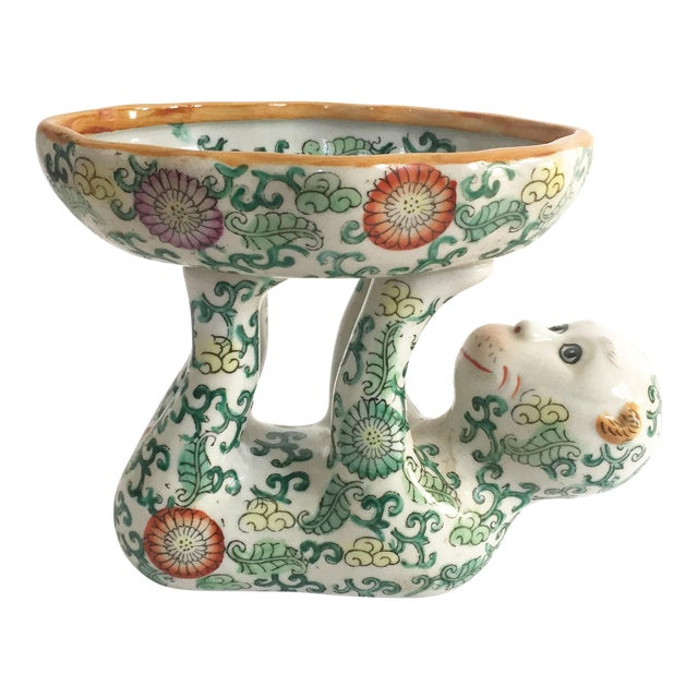 Vintage Ceramic Chinoiserie Monkey Dish For Sale