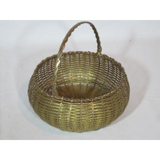 Vintage Round Woven Brass Basket Preview