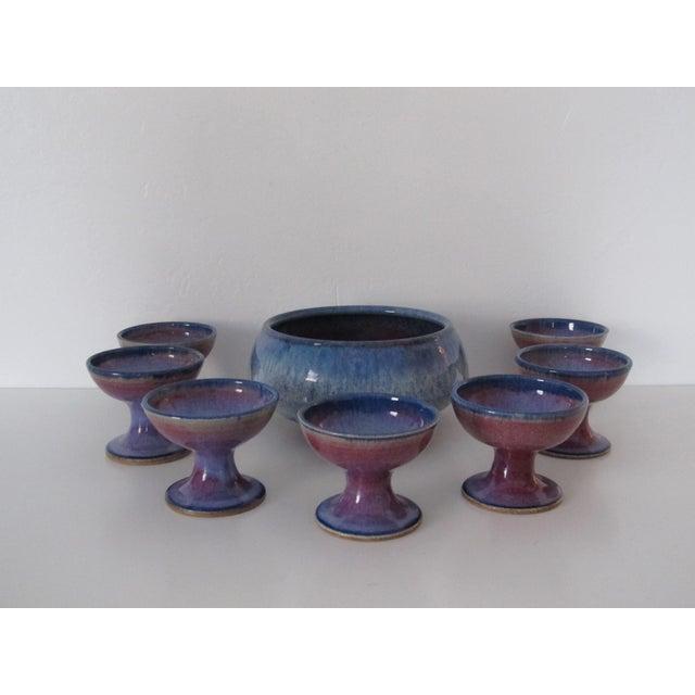 Studio Ceramic Punch Bowl Set - Set of 8 - Image 3 of 9