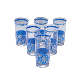 Mid-Century Tumbler Glasses Painted in Gold and Blue, 1960s - Set of 6 For Sale