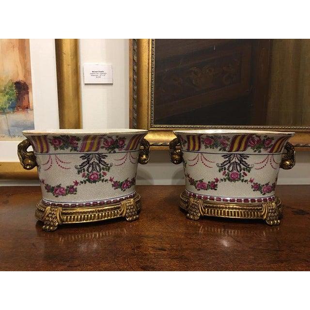 Porcelain Cache Pots or Jardinières with a Floral Motif, 20th Century - A Pair For Sale - Image 4 of 10
