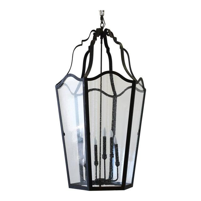 Custom Made Iron Lantern Chandelier For Sale