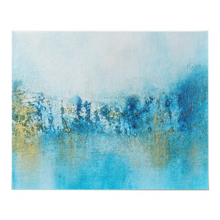 Abstract Coastal Original Framed Water Gold Blue White Art Painting For Sale