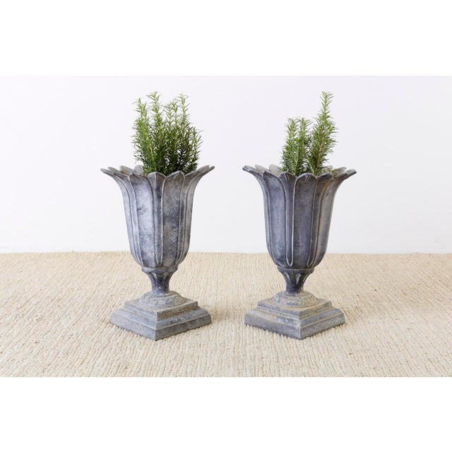 Neoclassical Pair of French Neoclassical Tulip Form Garden Urn Planters For Sale - Image 3 of 13