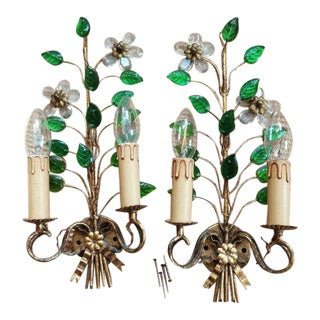 1940s Hollywood Regency Green & Clear Crystal Flowers & Petal Wall Sconces Maison Bagues Attributed - a Pair For Sale