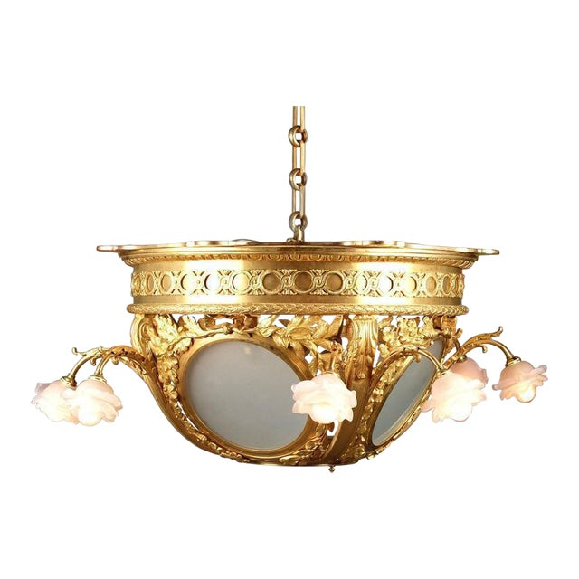 Frosted Glass Dore Bronze Chandelier For Sale