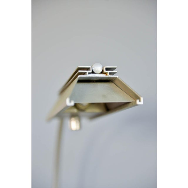 1970s Casella Brushed Nickel Adjustable Dimmable Floor Lamps - a Pair - Image 7 of 9