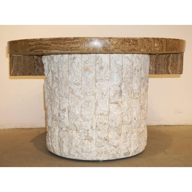 1970s Marzio Cecchi Italian Vintage White and Ochre Stone Round Side/Sofa Table For Sale In New York - Image 6 of 12
