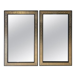 Hollywood Regency Brass Over Wood Moroccan Black Mirrors - a Pair For Sale