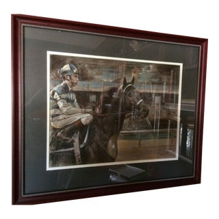 Louis Lupas Original Pastel Race Horse 'Carry Back' Signed One of a Kind For Sale