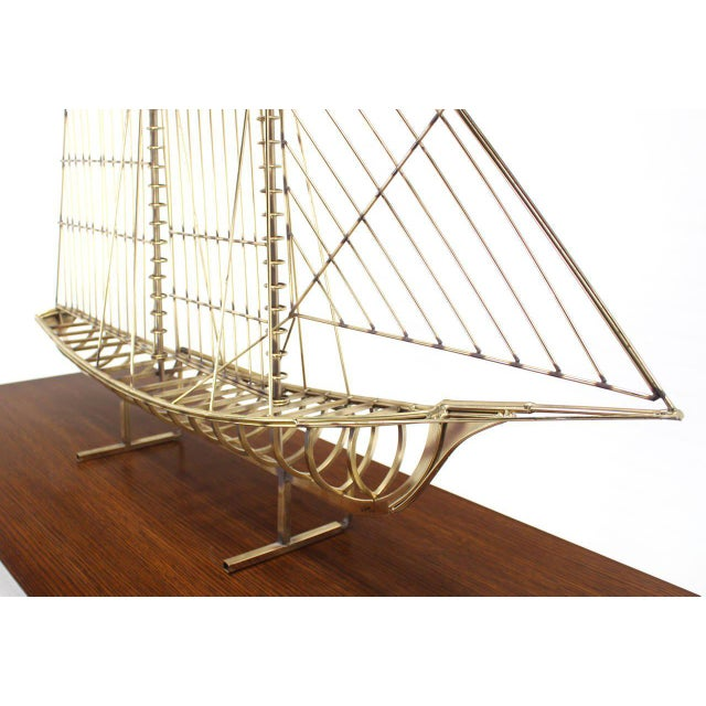 Long Brass 1976 Curtis Jere Sail Boat Sculpture For Sale In New York - Image 6 of 10