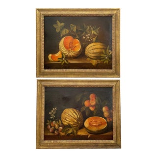 Pair 19th C. Spanish Paintings, Still Life With Melon After Spadino. For Sale