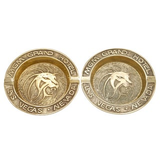 Mgm Grand Hotel Brass Ashtrays - a Pair For Sale