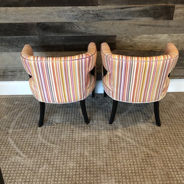 Green Boho Chic Colorful Striped Barrel Chairs - a Pair For Sale - Image 8 of 11
