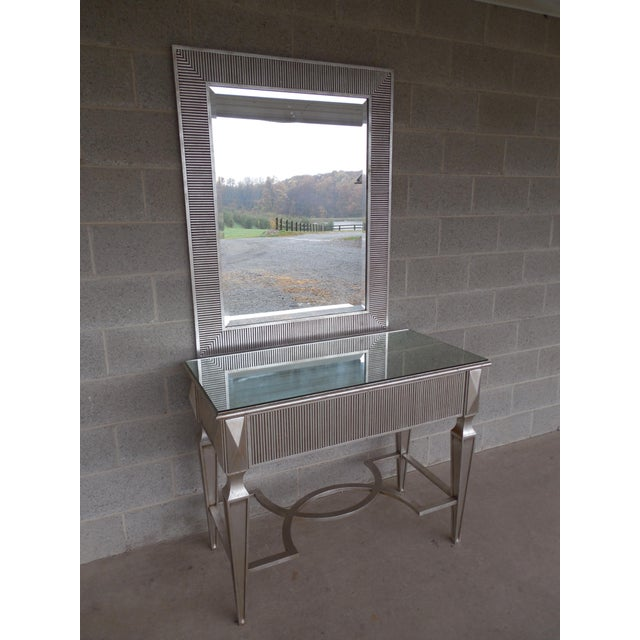 Friedman Brothers Hollywood Regency Silver Gilt Designer Console & Beveled Glass Mirror - features mirrored top console...