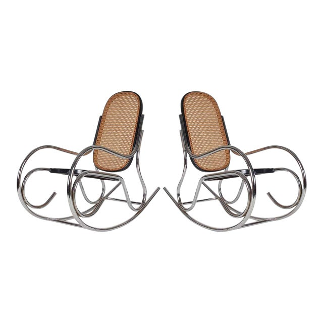 1970s Mid-Century Scrolled Chrome and Cane Rocking Chairs - a Pair For Sale