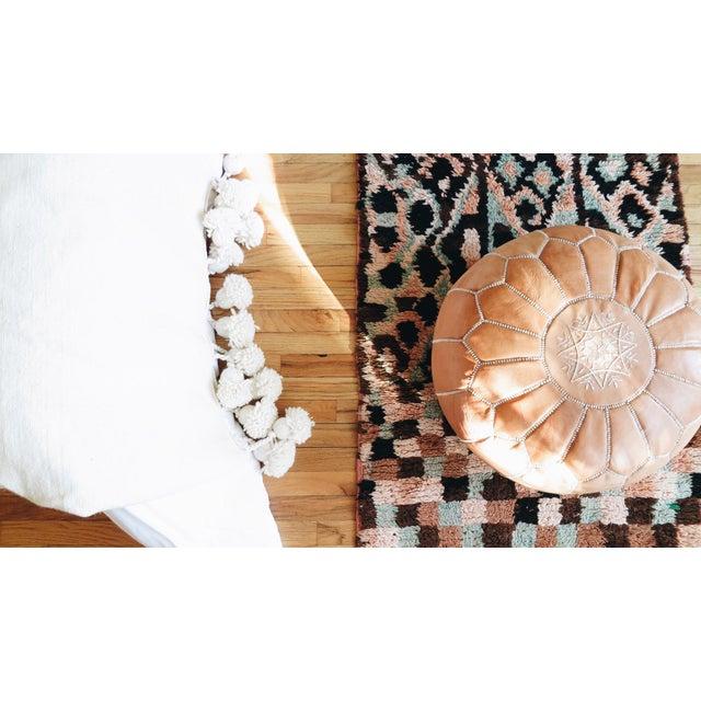 Café Au Lait' Moroccan Pom Blanket For Sale - Image 5 of 5