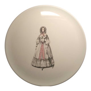 1930s Vintage Eastern China New York City Fashionable Woman Plate For Sale
