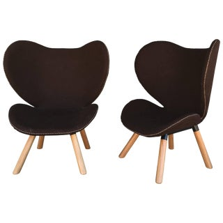 Pair of Mid-Century Modern Denmark Designed Brown Wool Easy Chairs For Sale