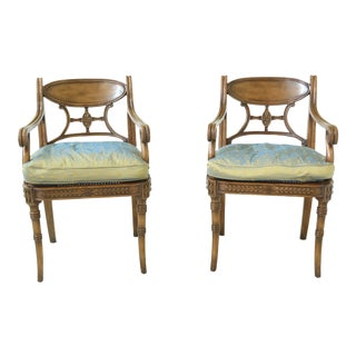 Pair Theodore Alexander Regency Style Cane Seat Open Armchairs For Sale