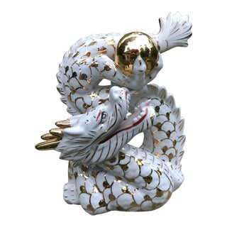 Vintage Chinese Asian Gold White Dragon Ball Figurine For Sale