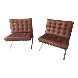 Knoll Barcelona Chocolate Brown Chairs
