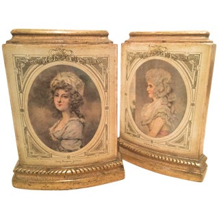 Pair of Borghese Bookends With Male and Female Figures For Sale