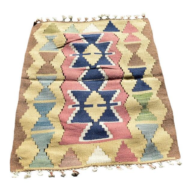 Nomadic Tribal Design Anatolian Oushak Traditional Wool Handmade Turkish Kilim Rug For Sale