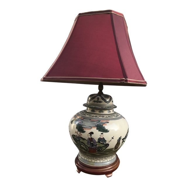 Antique Rare Chinoiserie Hand Painted Ginger Jar Lamp For Sale