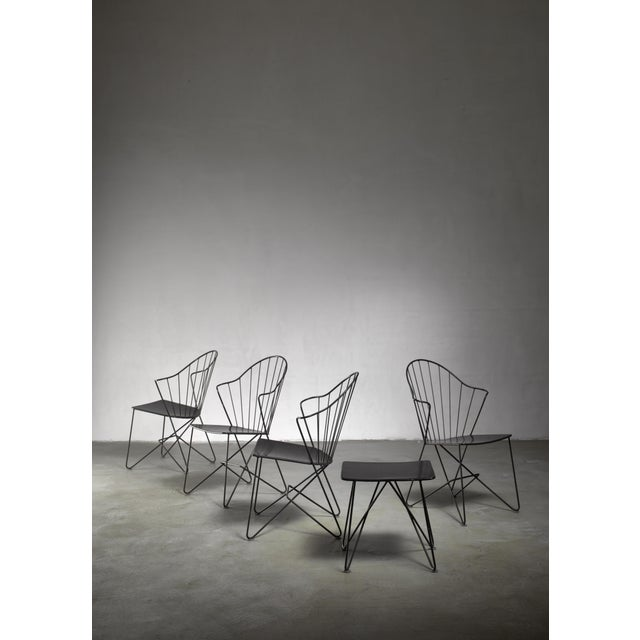Mannhardt-Stahlmöbel Set of Four Chairs and a Table, Germany, 1950s For Sale - Image 6 of 6