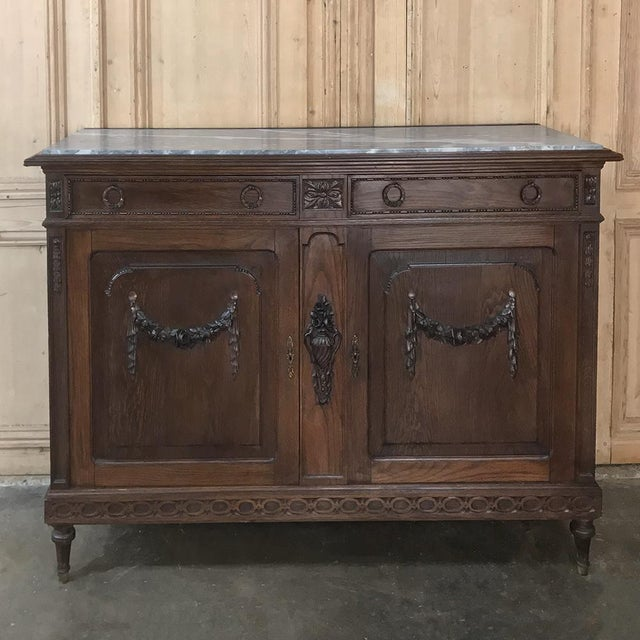Early 20th Century Antique French Louis XVI Marble Top Buffet For Sale - Image 5 of 13