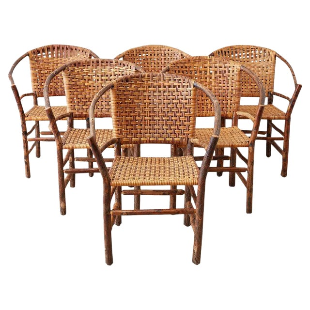 Set of Six Old Hickory Twig Hoop Adirondack Armchairs For Sale