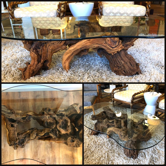 Vintage Burl Wood Root and Tempered Glass Coffee Table. For Sale - Image 9 of 10