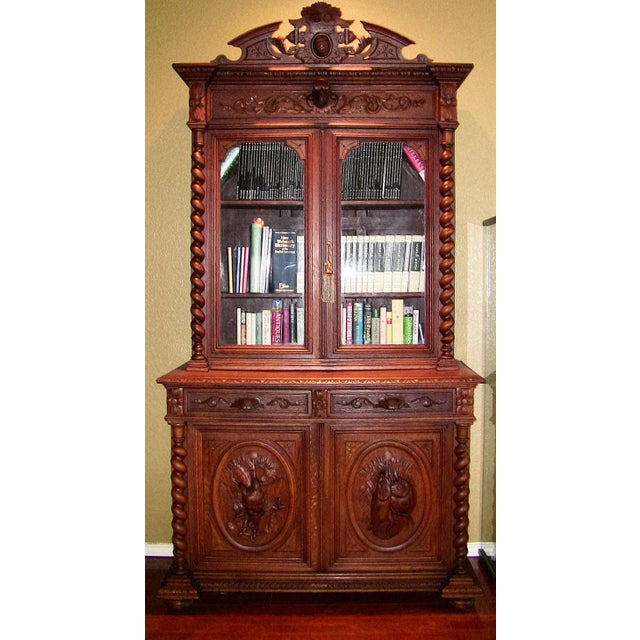 Early 19th Century French Provincial Highly Carved Oak Bookcase For Sale - Image 13 of 13