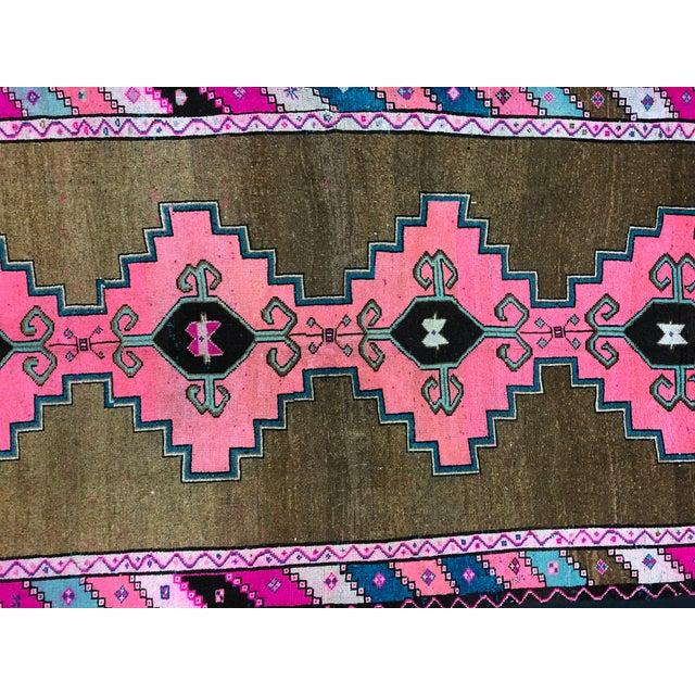 Textile Vintage Turkish Anatolian Pink Geometric Patterned Oushak Area Rug - 4′4″ × 9′10″ For Sale - Image 7 of 11