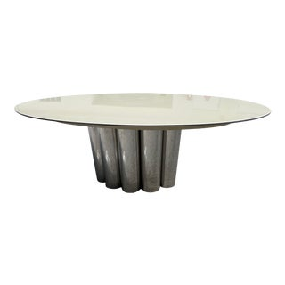 1960s Mid-Century Modern Chrome, Resin Metal Top Dining Table by Mastercraft For Sale