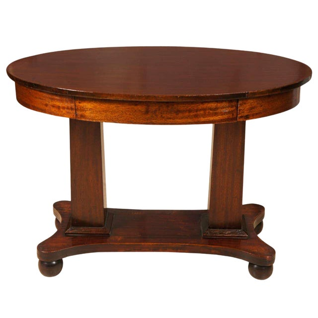 Empire Mahogany Pillar and Scroll Table With One Drawer For Sale