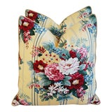 """Image of Designer Floral Bouquet Feather/Down Pillows 24"""" Square - Pair For Sale"""