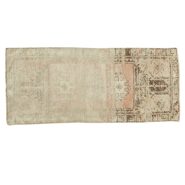 Vintage Ivory and Peach Oushak Rug For Sale