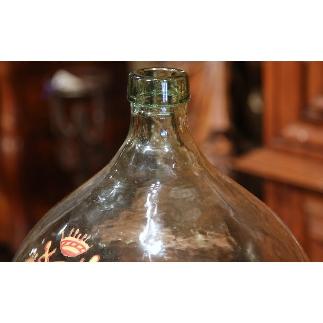 Large Handblown Demijohn Glass Bottle from France with Painted Coat of Arms - Image 2 of 9