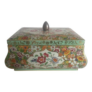 Mid-Century Dutch Floral Biscuit Tin For Sale