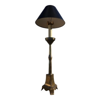 Giant Brass Candlestick Floor Lamp & New Brunswick Shade For Sale