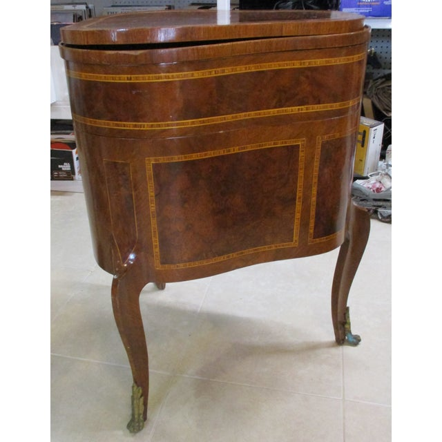 Traditional Egyptian Inlaid Wood Three Leg Flip-Up Mirror Top Vanity Dressing Table For Sale - Image 3 of 13