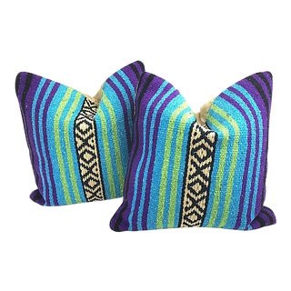 Mexican Serape Throw Pillows - a Pair For Sale