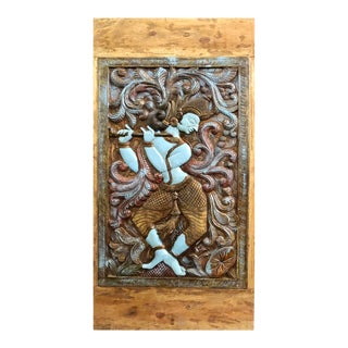 Indian Turquoise Krishna Barndoor Vintage Hand Carved Rustic Panel For Sale