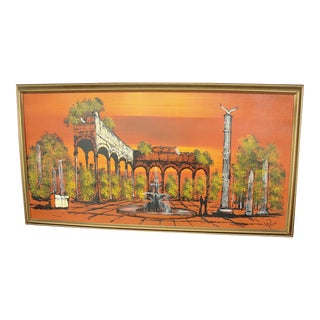 1950s Vintage Orange Ruins Painting by V Ran Raymor For Sale