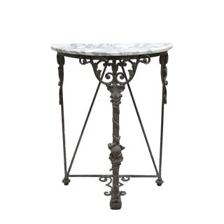 Wrought Iron Console With Marble Top For Sale