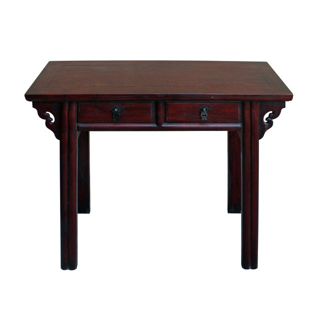 This is a handmade oriental plant stand / side table made of reddish brown huali rosewood. It is in shorter and small size...