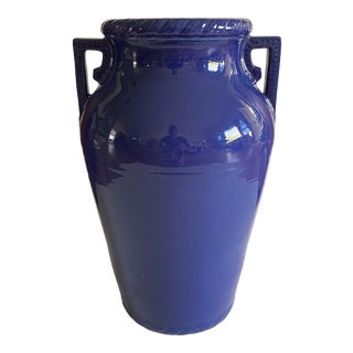1940s Usa Blue Art Pottery Floor Vase For Sale